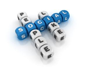Social Concept Crossword - White Background - 3D Rendering